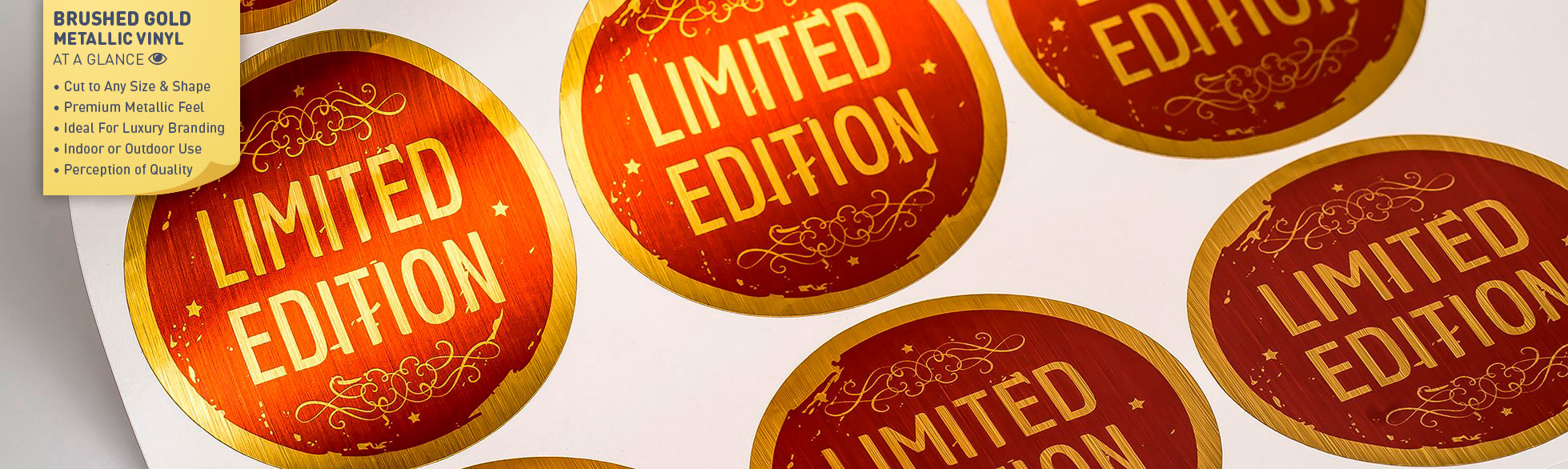 Brushed Finished Gold Metallic Labels